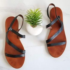 Lucky Brand Alexcia Black Slingback Flats Sandals